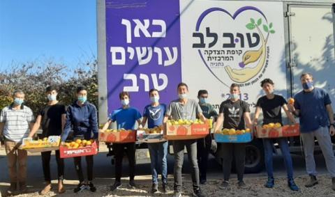 המתנדבים אוספים מזון